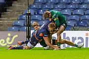Duhan van der Merwe (#11) of Edinburgh Rugby scores a try during the Guinness Pro 14 2019_20 match between Edinburgh Rugby and Connacht Rugby at BT Murrayfield Stadium, Edinburgh, Scotland on 21 February 2020.