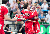 LONDON -  Unibet Eurohockey Championships 2015 in  London. England v Ireland for bronze medal .  Adam Dixon has scored and celebrates with Ashley Jackson (r).   WSP Copyright  KOEN SUYK