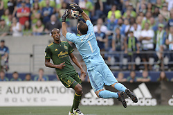 August 27, 2017 - Seattle, Washington, U.S - Soccer 2017: Timbers goalie JEFF ATTINELLA (1) saves a Seattle shot attempt as the Portland Timbers visit the Seattle Sounders for an MLS match at Century Link Field in Seattle, WA. (Credit Image: © Jeff Halstead via ZUMA Wire)