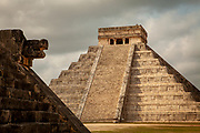 "El Castillo, also known as the Temple of Kukulcan, the ""World Wonder"" in Chichen Itza archaeological site, Mexico"