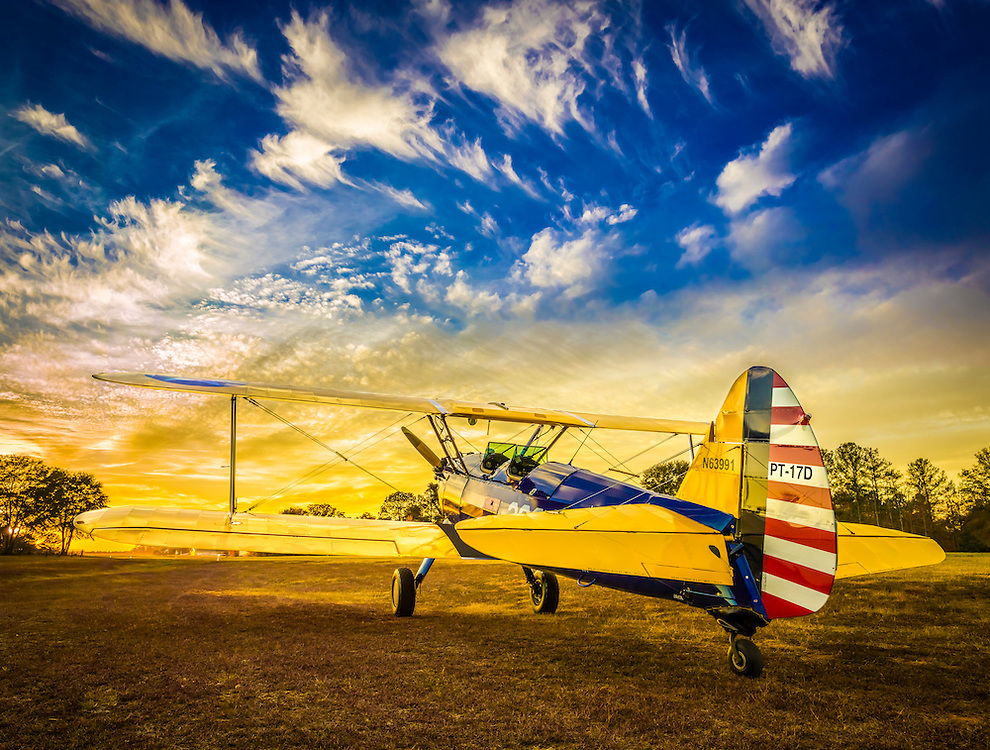"Boeing PT-17D ""Stearman,"" used as the primary trainer for new Army Air Corps pilots in WWII.   <br />
