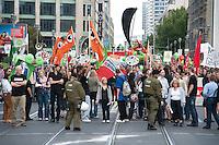 """12 SEP 2009, BERLIN/GERMANY:<br /> Demonstration """"Freiheit statt Angst - Stoppt den Ueberwachungswahn"""" gegen Ueberwachung, Internet-Sperren, Vorratsdatenspeicherung nach einem Aufruf von Gewerkschaften (u.a. DGB, ver.di), Parteien (u.a. B90/Gruene, Die Linke, Jusos, Piratenpartei), Menschenrechtsorganisationen (u.a. Humanistische Union, Mehr Demokratie, Pro Asyl, Attac), Berufsverbaenden (Deutscher Anwaltverein, dju, Freie Aerzteschaft) und Buergerinitiativen (AK Daten,  Chaos Computer Club), Leipziger Strasse<br /> IMAGE: 20090912-01-004<br /> KEYWORDS: Polizei, Demo, Demonstrant, Demonstranten"""