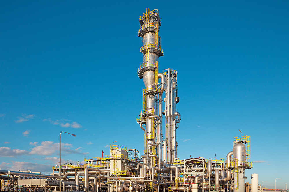 View of a gas refinery plant.