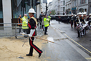 Military marching in the parade. The Lord Mayor's Show, one of the longest-established annual events, dating back to the 16th century. Held within the City of London, UK.