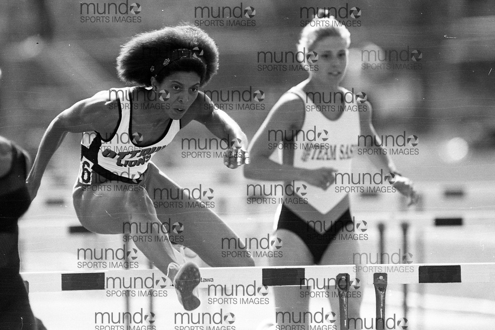 (Ottawa, Canada---07 July 1993) Leslie Estwick in the 100m hurdles at the 1993 FISU World Student Games track and field team trials held at the Terry Fox Athletic Facility. Photograph copyright 1993 Sean Burges / Mundo Sport Images<br /> <br /> *****NOTE -- contact us if you want this file cleaned up before you purchase it. It takes a while to adjust each B&W image and so we have not comprehensively cleaned all B&W files before uploading them **********