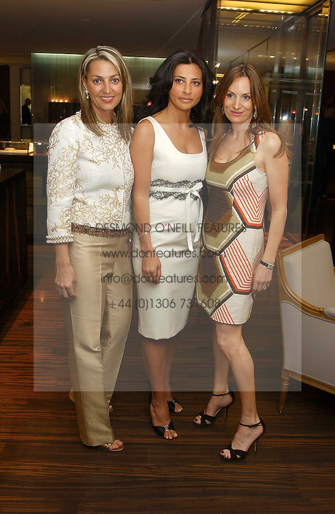 Left to right, BEATRICE WARRENDER, ELLA KRASNER and EMILY OPPENHEIMER at a party to celebrate the publication of 'The Russian House' by Ella Krasner held at De Beers, 50 Old Bond Street, London W1 on 9th June 2005.<br /><br />NON EXCLUSIVE - WORLD RIGHTS