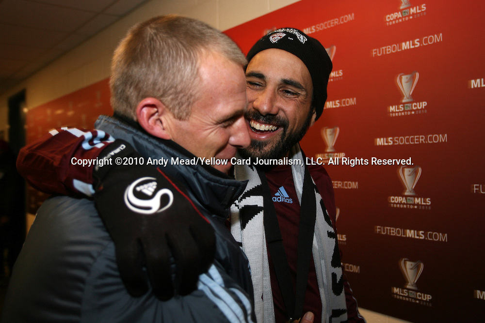 21 November 2010: Colorado head coach Gary Smith (ENG) (left) and captain Pablo Mastroeni (right) head to the locker room after the game. The Colorado Rapids defeated FC Dallas 2-1 in overtime at BMO Field in Toronto, Ontario, Canada in MLS Cup 2010, Major League Soccer's championship game.