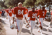 COLLEGE FOOTBALL:  The Walk before a Stanford football game in November 1984 at Stanford Stadium in Palo Alto, California.  Greg Baty #84, Thomas Henley #20, Joe Cain #7, Jeffrey James #3, Mike Noble #94.  Photograph by David Madison   www.davidmadison.com .
