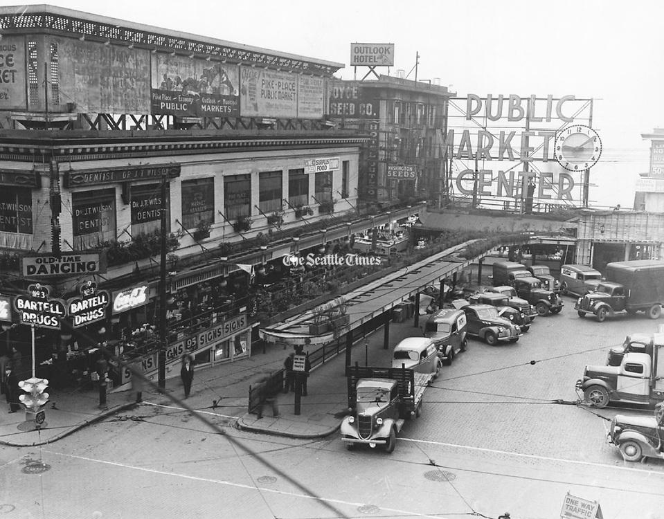 Public Market Center, 1939. (Seattle Times archives)