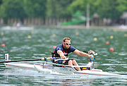 Bled, SLOVENIA,  Adaptive Rowing, Andy HOUGHTON, ASM1X, move away from the start in his heat, on the opening day, FISA World Cup, Bled venue, Lake Bled.  Friday  28/05/2010  [Mandatory Credit Peter Spurrier/ Intersport Images] .  Adaptive, Rowing. Para Rowing,