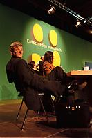 """06.03.1999, Deutschland/Erfurt:<br /> Joschka Fischer, B90/Grüne, Bundesaußenminister, und Kerstin Müller, Fraktionsvorsitzende B90/Grüne im Bundestag, auf der Bundesdelegiertenkonferenz von Bündnis 90/Die Grünen unter dem Motte """"Entschieden europäisch"""", Messe, Erfurt<br /> IMAGE: 19990306-01/06-17<br /> KEYWORDS: Parteitag, party congress"""