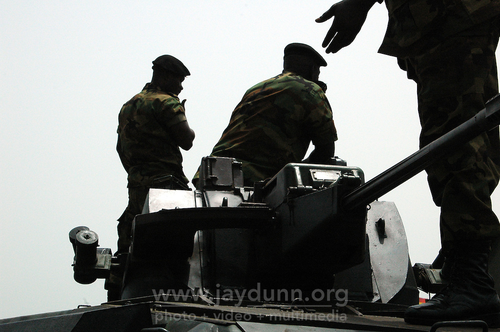 Ghana, Accra, 2007. A heavy security presence at the 50th anniversary celebrations was overwhelmed by the turnout.