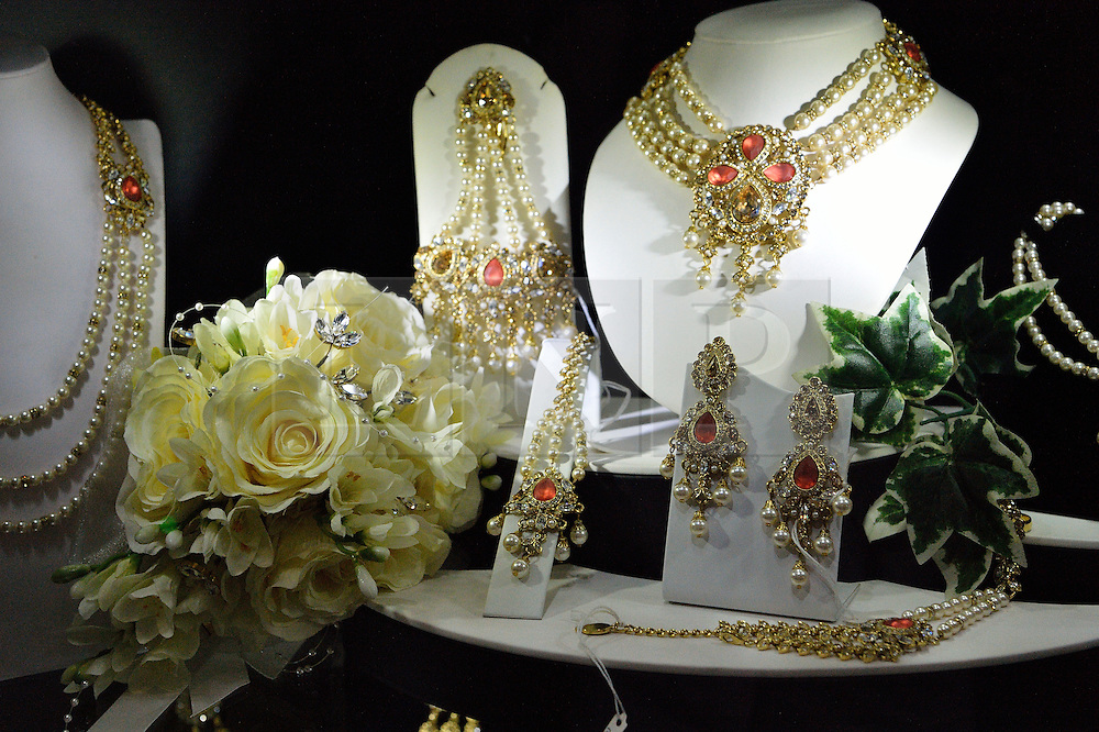 © Licensed to London News Pictures. 27/03/2016. A display of wedding jewellery at a stand at the Asian Bride Live Wedding Show featuring fashion, beauty and services for brides to be. London, UK. Photo credit: Ray Tang/LNP