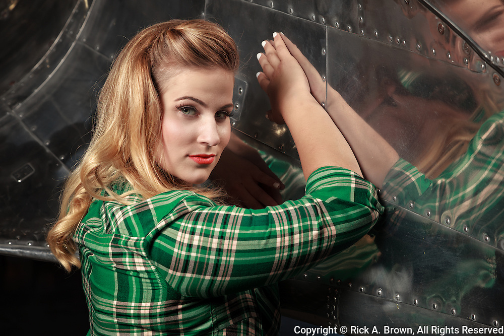 Living historian as pinup with DC-3.