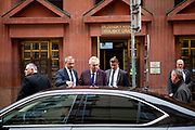 Czech President Milos Zeman and his bodyguards leaving the regional office of the Pilsen Region.  Miloš Zeman (born 28 September 1944) is the third and current President of the Czech Republic, in office since 8 March 2013.  He announced his candidacy for the 2018 presidential elections which will be held in the Czech Republic on 12–13 January.