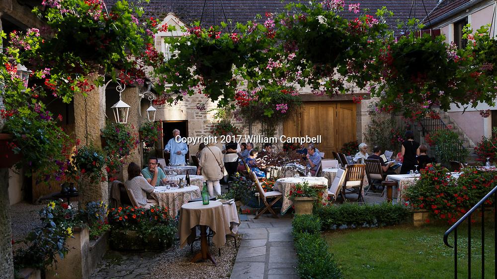 Auberge du Pot d'Etain restaurant, L'isle-sur-Serein, Burgundy,France. The wine list has over 2,5000 selections.