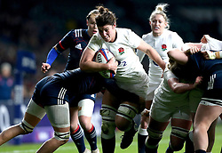 Sarah Hunter (c) of England powers her way through the French defence - Mandatory by-line: Robbie Stephenson/JMP - 04/02/2017 - RUGBY - Twickenham - London, England - England v France - Women's Six Nations