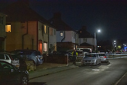 © Licensed to London News Pictures. 02/11/2020. Maidenhead, UK. An inner police cordor next to the house that came under attack on Moor Lane. A house has been 'petrol-bombed' on Moor Lane in Maidenhead, an altercation took place on the roadside before what is believed to be a petrol-bomb was throw at the house causing exterior damage. Photo credit: Peter Manning/LNP