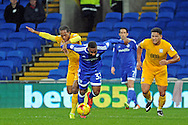 Cardiff City's Junior Hoilett (33) is fouled by Preston's Daniel Johnson in the box to give Cardiff a penalty. EFL Skybet championship match, Cardiff city v Preston North End at the Cardiff City stadium in Cardiff, South Wales on Tuesday 31st January 2017.<br /> pic by Carl Robertson, Andrew Orchard sports photography.