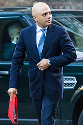 London, January 16 2018. Secretary of State for Housing, Communities and Local Government Sajid Javid attends the UK cabinet meeting at Downing Street. © Paul Davey