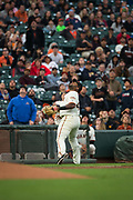 San Francisco Giants third baseman Pablo Sandoval (48) chases down a pop fly against the Milwaukee Brewers at AT&T Park in San Francisco, California, on August 21, 2017. (Stan Olszewski/Special to S.F. Examiner)