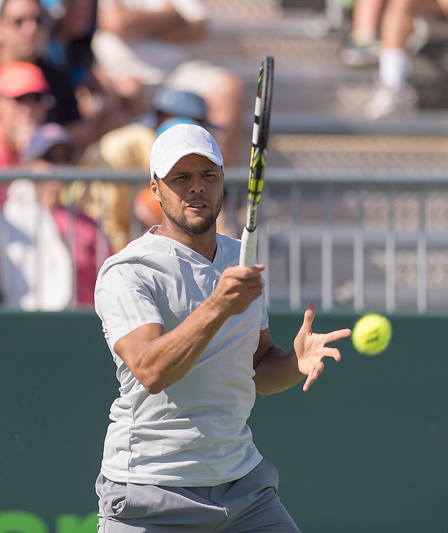 KEY BISCAYNE, FL - March 29: Jo-Wilfried Tsonga (FRA) in action here loses to Gael Monfils (FRA) 46 67(4) at the 2015 Miami Open at the Crandon Tennis Center in Key Biscayne Florida.  <br /> <br /> Photographer Andrew Patron - CameraSport/BigShots<br /> <br /> Tennis - 2015 Miami Open presented by Itau - Crandon Park Tennis Center - Key Biscayne, Florida - USA - Day 7, Sunday 29th March 2015<br /> <br /> © CameraSport - 43 Linden Ave. Countesthorpe. Leicester. England. LE8 5PG - Tel: +44 (0) 116 277 4147 - admin@camerasport.com - www.camerasport.com - CameraSport/BigShots<br /> <br /> Tennis - 2015 ATP World Tour 1000 - Miami Open - Key Biscayne, USA - Day 7 - Sunday 29 March 2015<br /> <br /> © CameraSport - 43 Linden Ave. Countesthorpe. Leicester. England. LE8 5PG - Tel: +44 (0) 116 277 4147 - admin@camerasport.com - www.camerasport.com