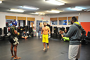 Johny Hendricks trains at Velociti Fitness in Pantego, Texas on November 10, 2014. Hendricks is in camp for his first UFC title defense against Robby Lawler at UFC 181 in Las Vegas on December 6, 2014.