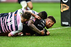 Ospreys' Rhys Webb scores his sides second try<br /> <br /> Photographer Craig Thomas/Replay Images<br /> <br /> Guinness PRO14 Round 13 - Ospreys v Cardiff Blues - Saturday 6th January 2018 - Liberty Stadium - Swansea<br /> <br /> World Copyright © Replay Images . All rights reserved. info@replayimages.co.uk - http://replayimages.co.uk