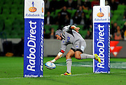 Daniel Kirkpatrick (HUR) try<br /> Melbourne Rebels v The Hurricanes<br /> Rugby Union - 2011 Super Rugby<br /> AAMI Park, Melbourne VIC Australia<br /> Friday, 25 March 2011<br /> © Sport the library / Jeff Crow