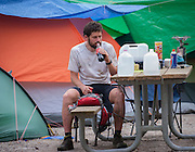 Wouter Hamelink amid the tent camp, refuels between laps at the Barkley Marathons.