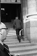 19th April 1972<br /> <br /> George Colley TD, Minister for Finance, Budget. The Minister for Finance, Mr George Colley, is seen leaving to give his budget speech at Dail Eireann, Leinster House, Dublin.
