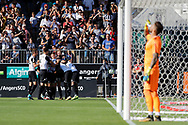 Baptiste GUILLAUME (SCO Angers) scored a goal against Benoit Costil (Girondins de Bordeaux) and celebrated it with Karl TOKO-EKAMBI (SCO Angers), Angelo FULGINI (SCO Angers), Flavien TAIT (SCO Angers), Pierrick CAPELLE (SCO Angers), Mateo PAVLOVIC (SCO Angers), Romain THOMAS (SCO Angers) during the French championship L1 football match between SCO Angers and Bordeaux on August 6th, 2017 at Raymond-Kopa stadium, France - PHOTO Stéphane Allaman / ProSportsImages / DPPI