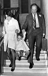 May 07, 1974 - Ottawa, ON, Canada - Prime Minister Pierre Trudeau leaves the Commons with his wife Margaret and two-and-a-half-year-old son Justin after delivering a fighting speech on the opposition partyÃ•s non-confidence motion, Ottawa, Ont., Tuesday, May 7, 1974. THE CANADIAN PRESS/Fred Chartrand (Credit Image: © Fred Chartrand/The Canadian Press via ZUMA Press)