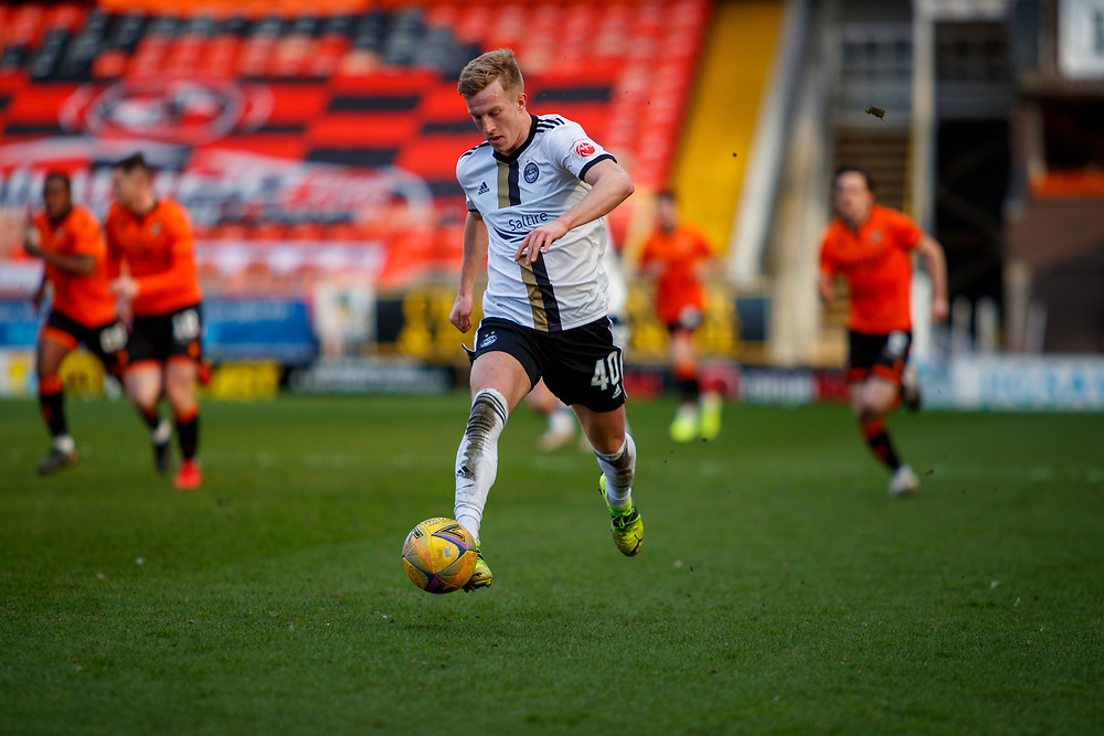 DUNDEE, SCOTLAND, MARCH 20, 2020:  Dundee Utd V Aberdeen FC Ladbrokes SPFL Premiership fixture at Tannadice Park, Dundee.<br /> <br /> Pictured: Ross McCrorie (Aberdeen FC Midfielder on Loan from Rangers)<br /> <br /> <br /> (Photo: Newsline Media)