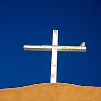 Wooden cross atop the San Miguel Mission in Santa Fe, New Mexico.