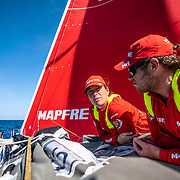 Leg 9, from Newport to Cardiff, day 03 on board MAPFRE, Tamara Echegoyen and Antonio Cuervas-Mons at the bowduring the wind transition. 22 May, 2018.