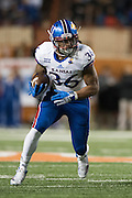 AUSTIN, TX - NOVEMBER 7:  Taylor Cox #36 of the Kansas Jayhawks breaks free against the Texas Longhorns on November 7, 2015 at Darrell K Royal-Texas Memorial Stadium in Austin, Texas.  (Photo by Cooper Neill/Getty Images) *** Local Caption *** Taylor Cox