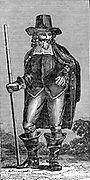 Mathew Hopkins (d1647) witch-finder of Manningtree, Essex, England. In 1645 Hopkina had 60 people executed for witchcraft in Essex alone. He fell under suspicion himself and was 'swum' as a witch. He floated so was found guilty and executed. Woodcut circa 1830.