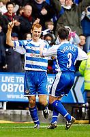 Photo: Alan Crowhurst.<br />Reading v Aston Villa. The Barclays Premiership. 10/02/2007. Reading's Steve Sidwell (L) celebrates his second goal 2-0.