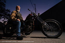 Kirk Sharp on his 1926 JD chopper after the Industry party at Bill Dodge's Blings Cycles shop during Daytona Bike Week. Daytona Beach, FL. USA. Wednesday March 14, 2018. Photography ©2018 Michael Lichter.