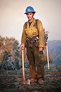 A firefighter of the Texas Canyon Hotshots at the La Brea fire in the Los Padres National Forest, California.