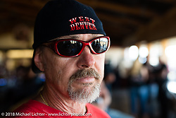 Rudi Votteler at a Sons of Silence MC party during the 78th annual Sturgis Motorcycle Rally. Sturgis, SD. USA. Wednesday August 8, 2018. Photography ©2018 Michael Lichter.