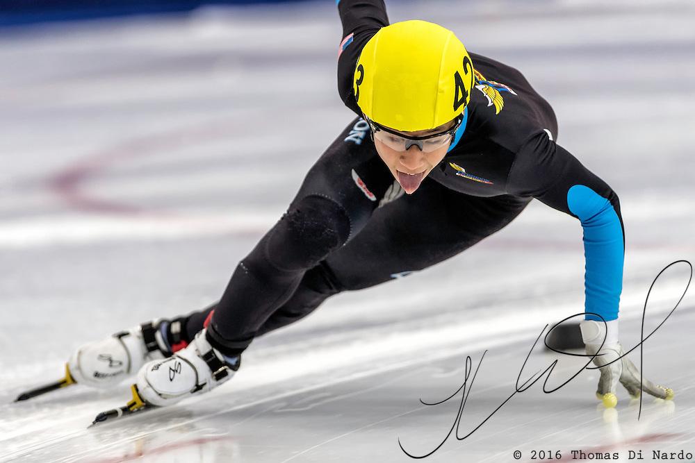 December 17, 2016 - Kearns, UT - Jonathan So skates during US Speedskating Short Track Junior Nationals and Winter Challenge Short Track Speed Skating competition at the Utah Olympic Oval.