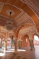 """Diwan-I-Khas was a private audience hall of the Maharajas, a marble floored chamber within Jaipur City Palace.  There are two large silver vessels on display here that were made of 14,000 melted silver coins to carry the water of the Ganges.  Guinness Book of World Records says they are the world's largest silver vessels  The silver urns are named Gangajelies (""""Ganges water urns"""")"""