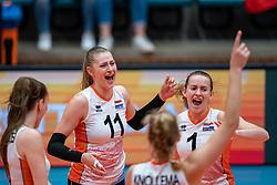 Elles Dambrink of Netherlands, Kim Klein Lankhorst of Netherlands celebrate during United States - Netherlands, FIVB U20 Women's World Championship on July 15, 2021 in Rotterdam