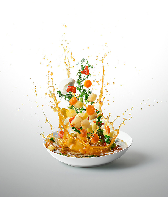 Root Veg Winter Stew<br /> - Ten-A-Day is series created for Men's Health magazine promoting healthy recipes. The levitating images shot dynamic approach to food phoography.