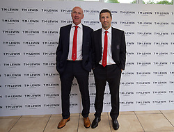 CARDIFF, WALES - Wednesday, June 1, 2016: Wales' head of pubic affairs Ian Gwyn Hughes and head of performance Ryland Morgans wearing T.M. Lewin suits before a charity send-off gala dinner at the Vale Resort Hotel ahead of the UEFA Euro 2016. (Pic by David Rawcliffe/Propaganda)
