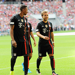 09.08.2014, Allianz Arena, Muenchen, GER, 1. FBL, FC Bayern Muenchen, Saisoneröffung, im Bild vl. Jerome Boateng (FC Bayern Muenchen) und Mario Goetze (FC Bayern Muenchen) // during the saison opening of German 1st Bundesliga Club FC Bayern Munich at the Allianz Arena in Muenchen, Germany on 2014/08/09. EXPA Pictures © 2014, PhotoCredit: EXPA/ Eibner-Pressefoto/ Stuetzle<br /> <br /> *****ATTENTION - OUT of GER*****
