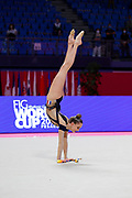 Maelle Millet competes during the Rhythmic Gymnastics Individual  qulification of the World Cup at Vitrifrigo Arena  on May 28-29, 2021,in Pesaro Italy. She is a French individual rhythmic gymnast born in 2004.