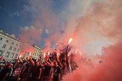 August 1, 2017 - Krakow, Poland - Members of the Nationalist Parties light up torches during a commemorative ceremony of the 73rd anniversary of Warsaw Upraising in Krakow's Main Square..On Tuesday, August 1st, 2017, in Krakow, Poland. (Credit Image: © Artur Widak/NurPhoto via ZUMA Press)